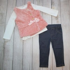 TAHARI Baby 18 Month Outfit Pink Vest Pants Shirt